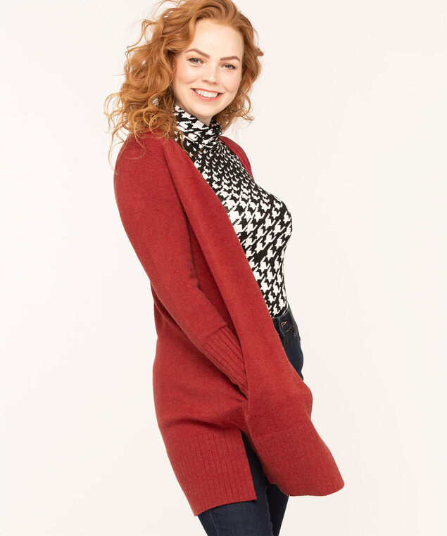 Long Cozy Open Cardigan, Red