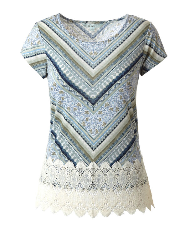 Olive Printed Crochet Hem Top, Olive/Blue, hi-res