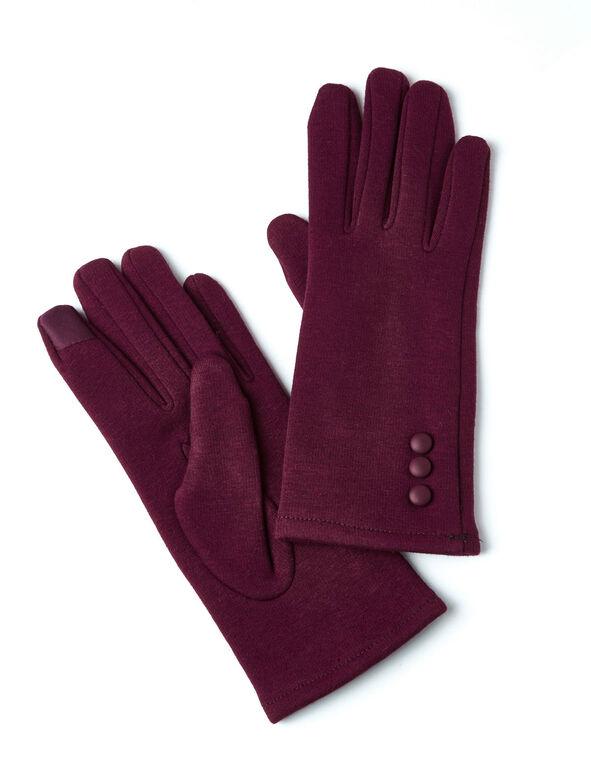 Burgundy Text Gloves, Burgundy, hi-res
