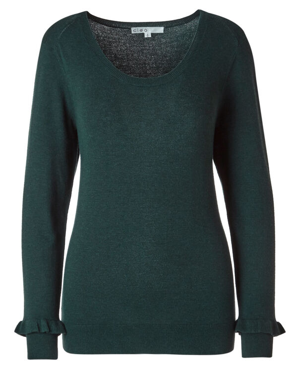 Dark Teal Crew Neck Sweater, Dark Teal, hi-res