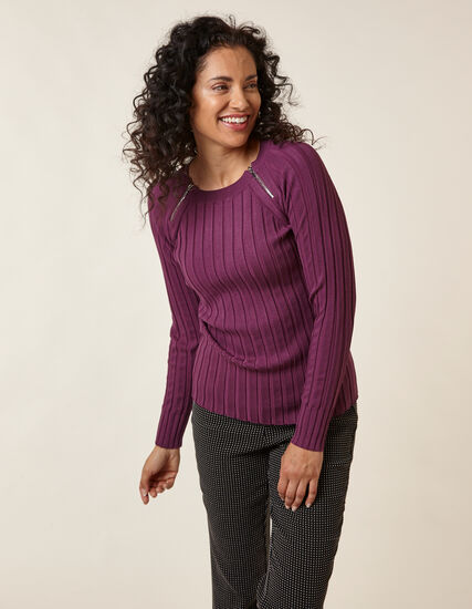 Berry Rib Knit Zip Sweater, Purple/Berry, hi-res