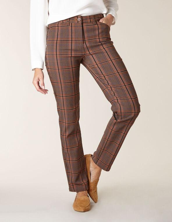 Brown Plaid Butt Lift Slim Pant, Brown, hi-res