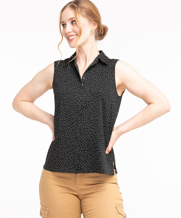Sleeveless Collared Button Front Blouse, Black/Ivory Dot