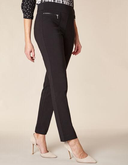 Black Zip Pull On Slim Pant, Black, hi-res