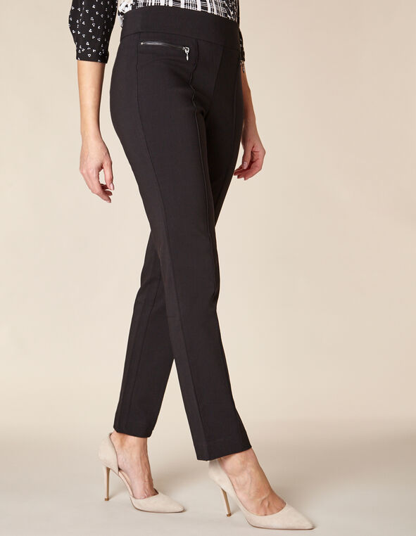 Black Zip Pull On Pant, Black, hi-res