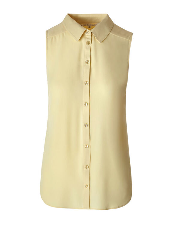 Butter Button Front Blouse, Butter, hi-res