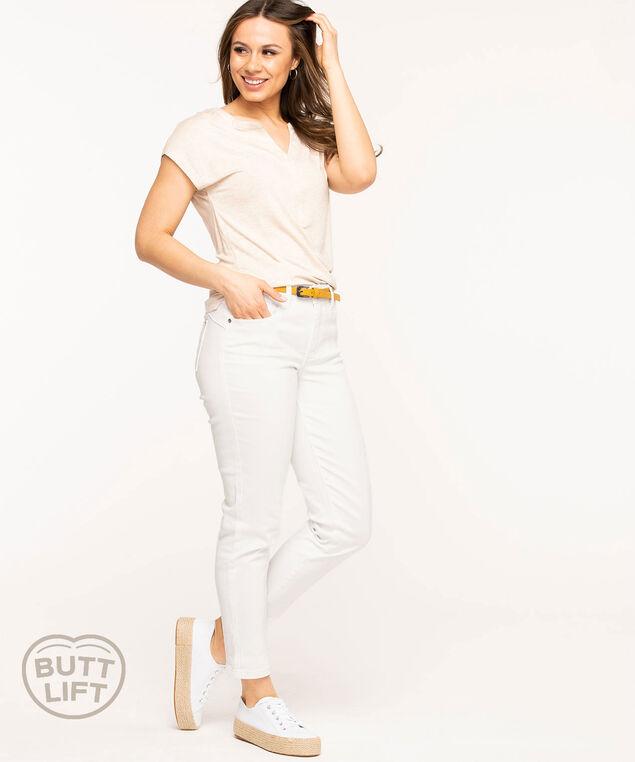 White Butt Lift Slim Ankle Jean, White