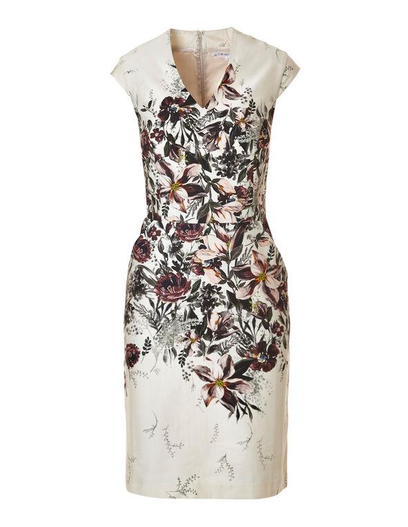 Garden Floral Cotton Dress, Ivory, hi-res