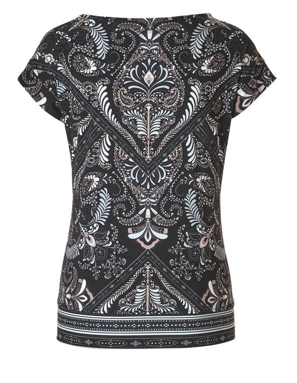 Black Printed Side Tie Top, Black Print, hi-res