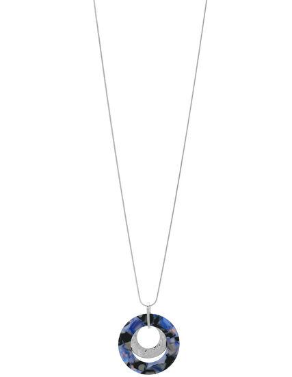 Blue Tortoise Long Necklace, Blue/Silver, hi-res