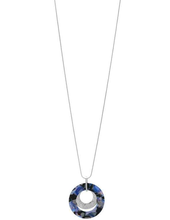 Blue Tortoise Long Necklace, Blue/Silver, hi-res