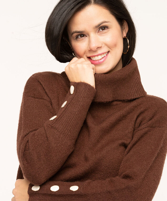 Button Cuff Turtleneck Sweater, Dark Brown, hi-res