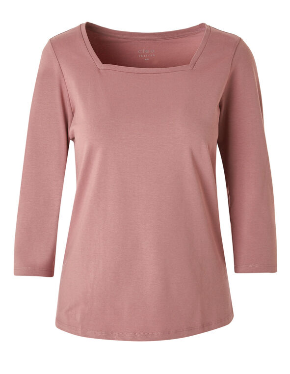 Dusty Pink Square Neck Tee, Dusty Pink, hi-res