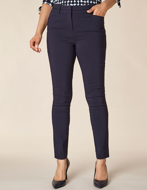 Navy Solid Piped Skinny Pant, Navy, hi-res