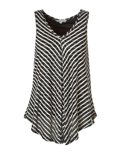 Black Striped Fly Away Top, Black/White, hi-res