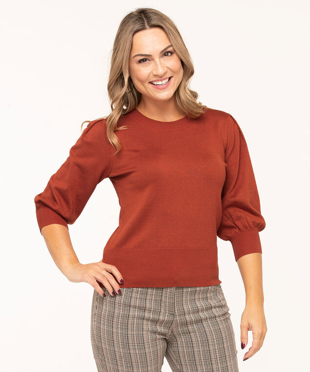 Puff Sleeve Banded Bottom Sweater, Earthen, hi-res
