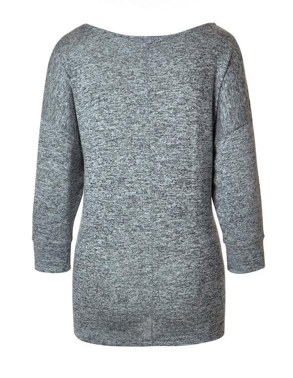 Grey Floral Printed Hacchi Top, Grey, hi-res