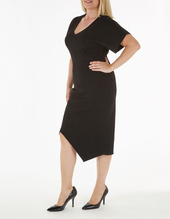 Black Sweater Sheath Dress, Black, hi-res