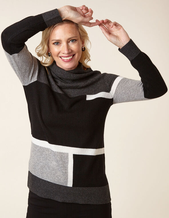 Colour Block Wool Blend Sweater, Black, hi-res