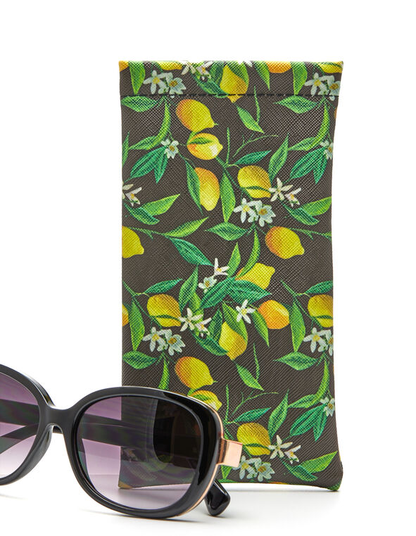 Lemon Sunglasses Case, Yellow/Green, hi-res