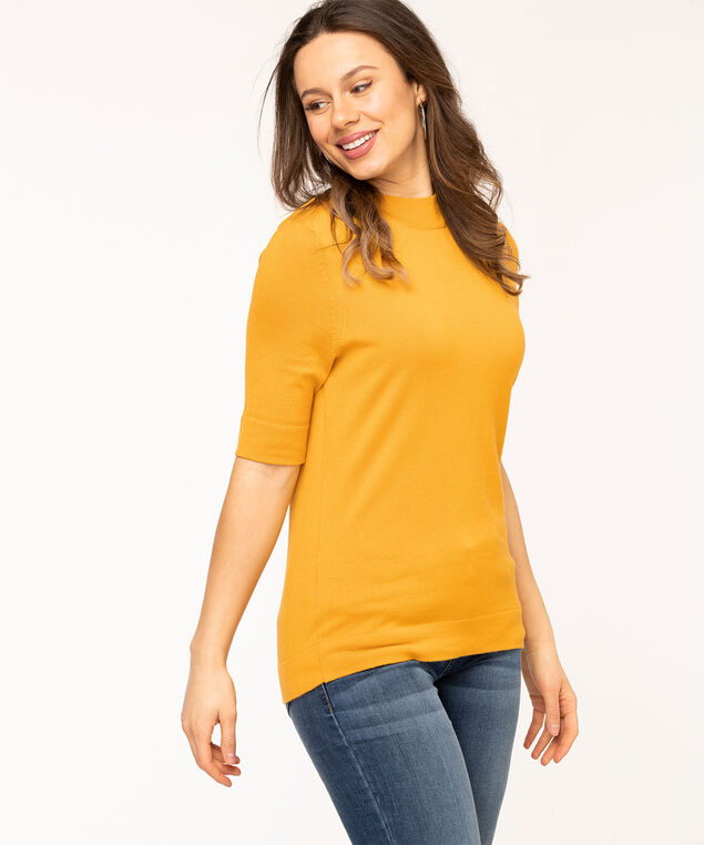 Mock Neck Elbow Sleeve Pullover, Gold