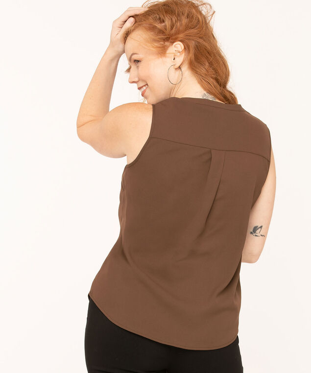 V-Neck Sleeveless Blouse, Brown, hi-res