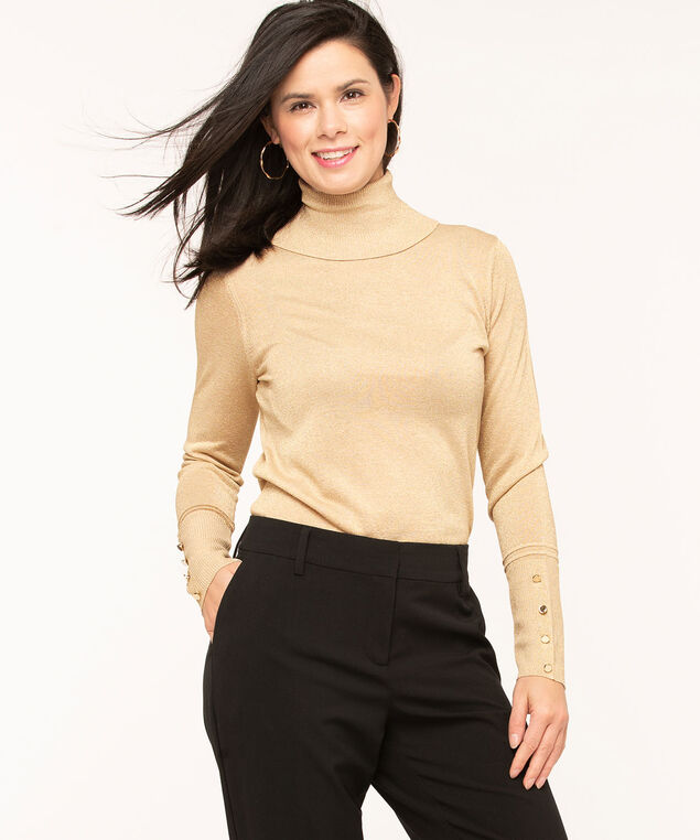 Long Sleeve Essential Turtleneck, Gold, hi-res