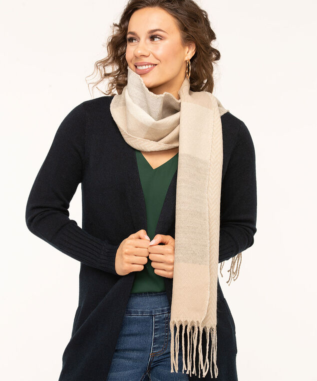 Plaid/Herringbone Double Face Scarf, Sand/Light Grey/Ivory, hi-res
