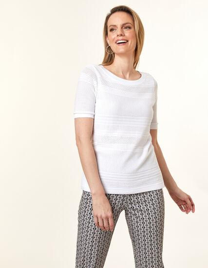 White Pointelle Stitch Sweater, White, hi-res
