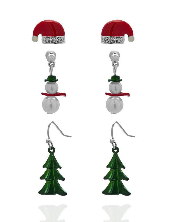 Christmas Season Earring Trio Set, White/Green/Red, hi-res