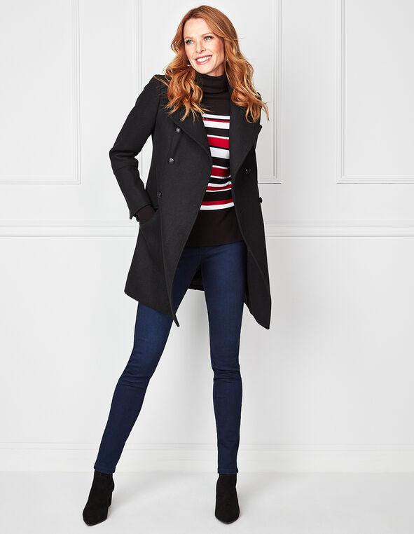 Black Faux Wool Coat, Black, hi-res