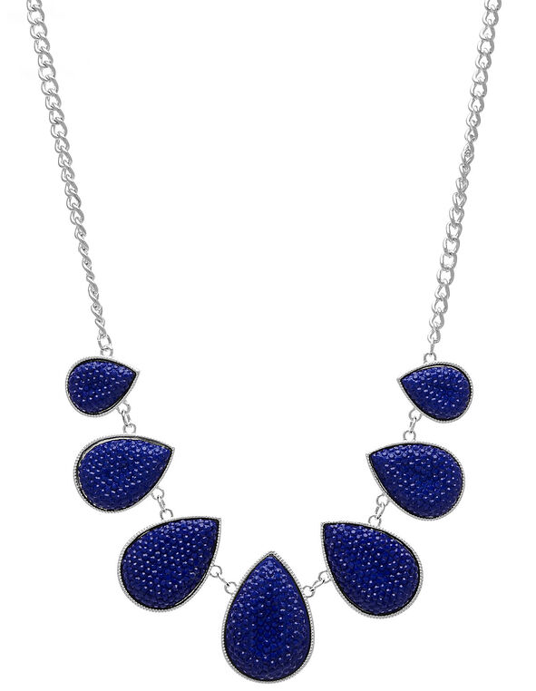 Sapphire Caviar Beaded Statement Necklace, Blue, hi-res