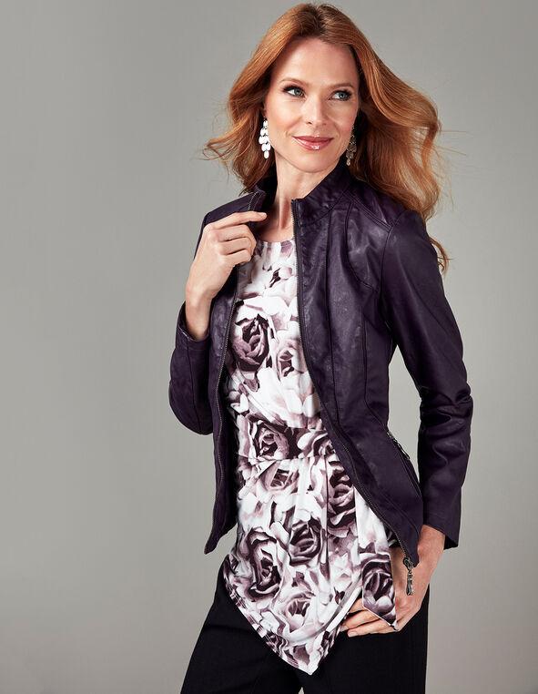 Purple Faux Leather Jacket, Purple, hi-res
