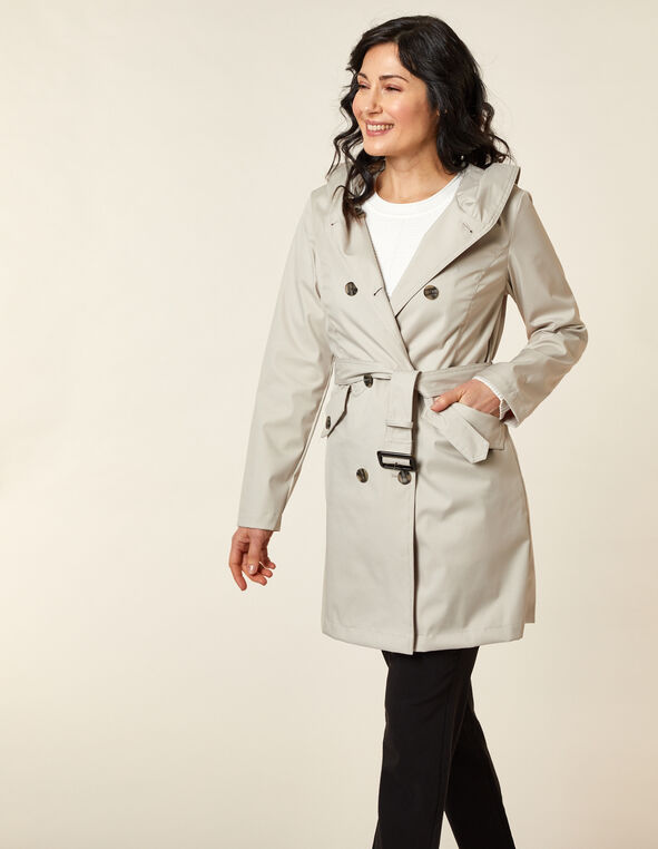 Stone Hooded Trench Coat, Neutral/Stone, hi-res