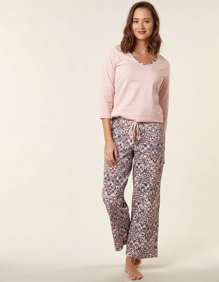 Pink Paisley Print Cotton Pyjama Set, Pink, hi-res