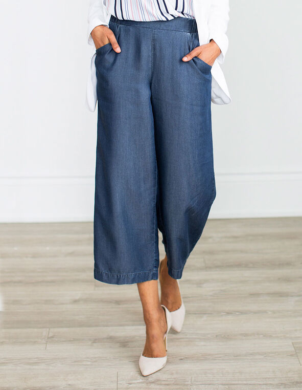 Chambray Pull On Pant, Chambray, hi-res