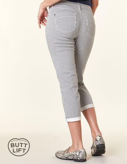 Black Stripe Butt Lift Slim Jean, White/Black, hi-res