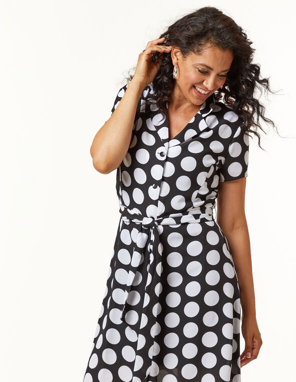 Polka Dot T-shirt Dress, Black, hi-res