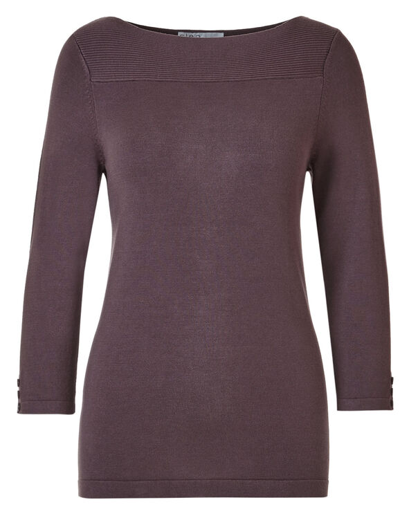 Mauve Ribbed Sweater, Mauve, hi-res