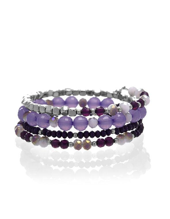 Purple Beaded Bracelet, Purple, hi-res