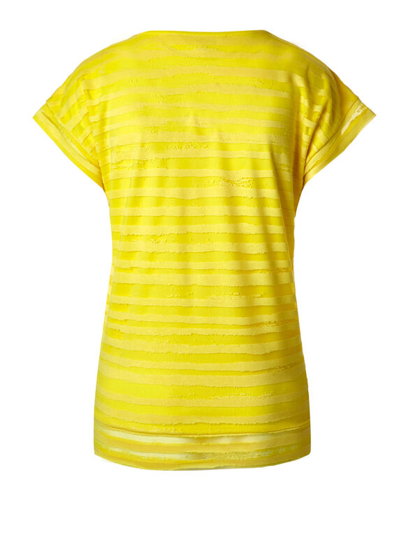 Sunshine Yellow Striped Burnout Top, Sunshine Yellow, hi-res