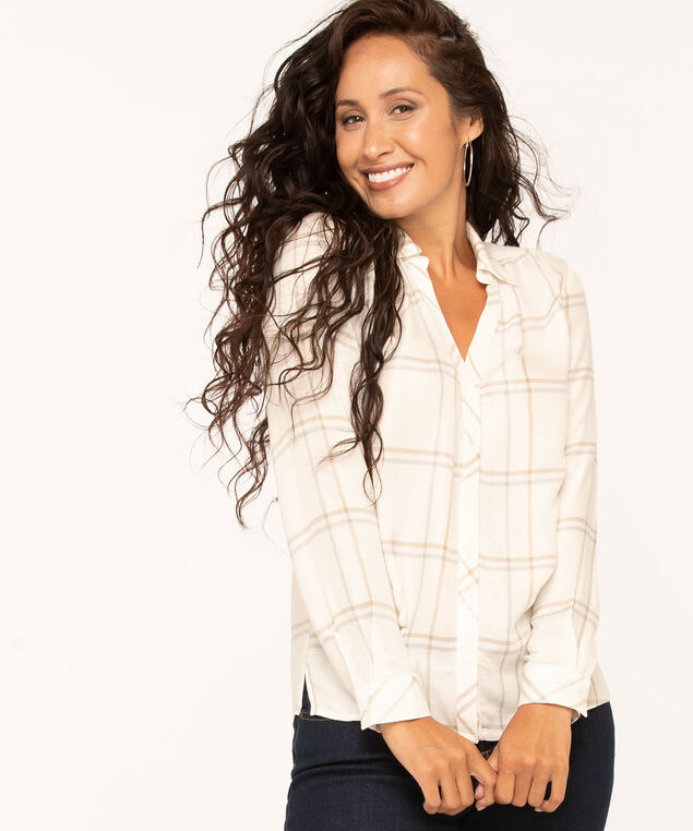 Plaid Button Down Blouse, Ivory/Grey/Camel