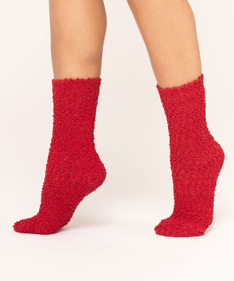 Super Soft Nubby Sock 2-Pack, Red/Grey Mix, hi-res