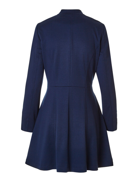 Dark Blue Long Military Blazer, Dark Blue, hi-res
