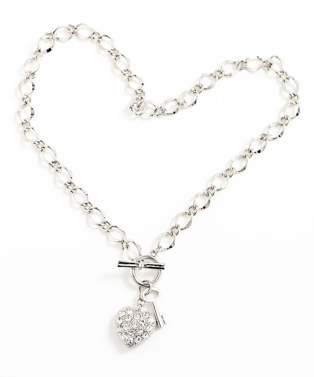 Crystal Heart & Chain Toggle Necklace, Silver