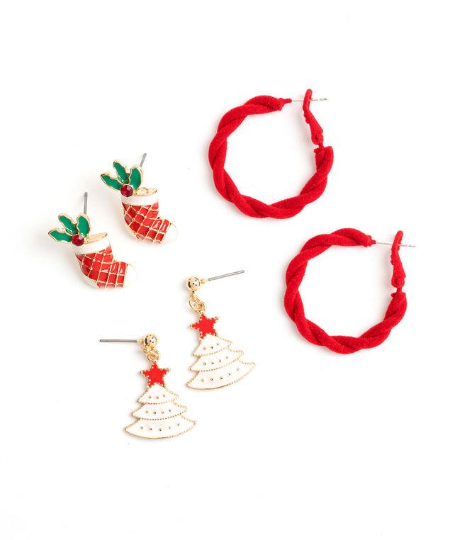 Christmas Stud & Hoop Earring 3-Pack, Gold
