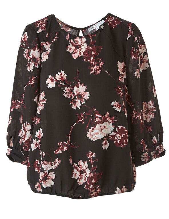 Black Floral Chiffon Blouse, Black, hi-res