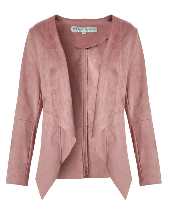 Pink Suede Open Front Jacket, Pink, hi-res