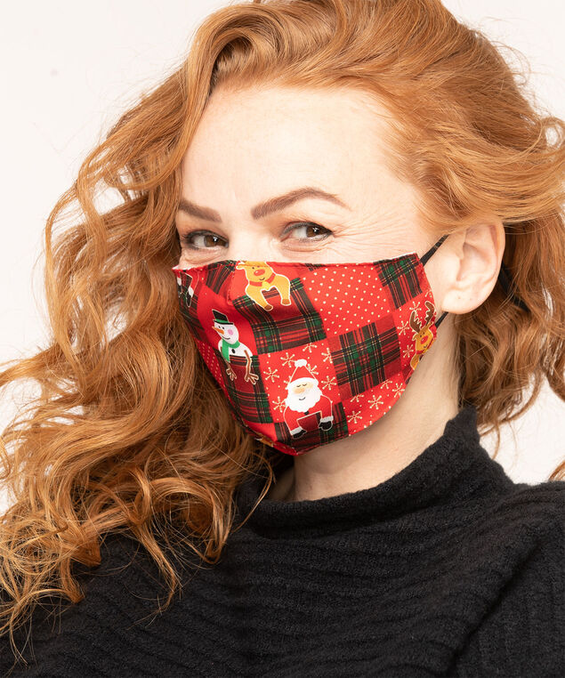 Cotton-Lined Face Mask Set, Red, hi-res