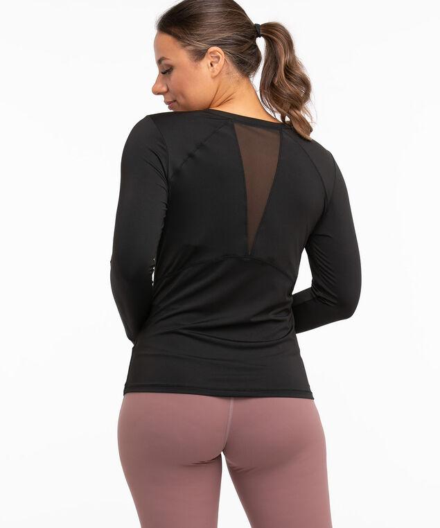 Long Sleeve Mesh Detail Active Top, Black